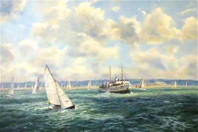 Barry Peckham artist painting of The Paddle Steamer Balmoral in the Solent