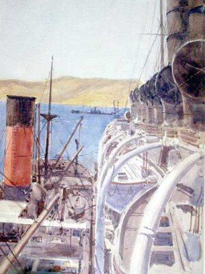The Dardanelles - 1915 - Norman Wilkinson War Artist