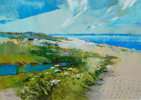 Lepe beach by Richard Tratt Marine Artist