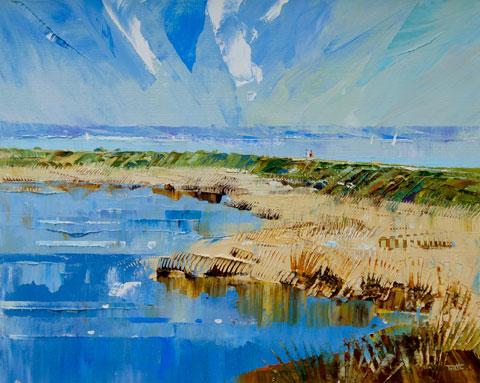 Richard Tratt Artist The reedbeds at Keyhaven