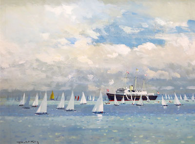 "Robert King Marine Artist - ""Her Majesty's Yacht Britannia at Cowes Week, Isle of Wight."""