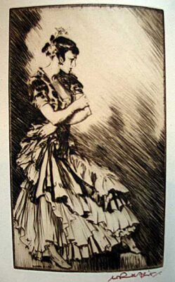 Sir William Russell Flint RA Artist Model etching