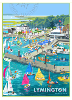 Lymington Signed limited edition framed glicee print by Sue Stitt