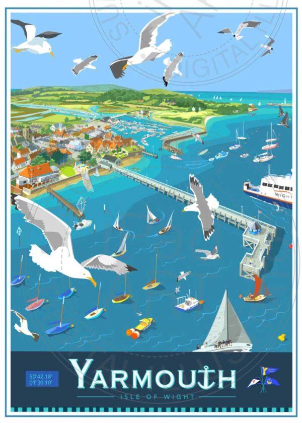 Yarmouth pier Isle of Wight by Sue Stitt Print