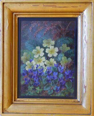 Albert Durer Lucas Original Oil Painting of primroses New Forest Artist