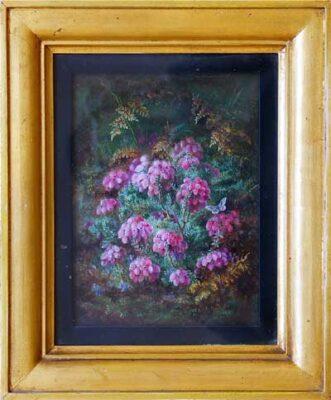 Albert Durer Lucas Original Oil Painting of heather and butterfly New Forest Artist