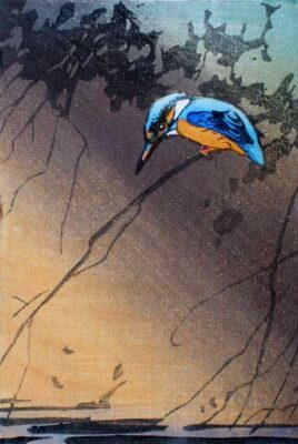Allen William Seaby original woodblock print of a Kingfisher
