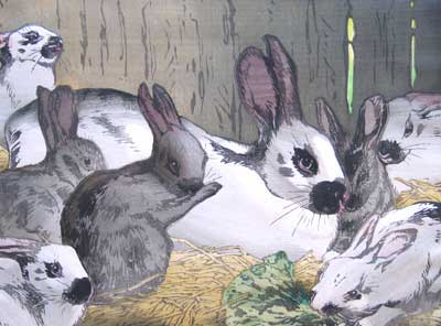 Allen Seaby artist signed woodblock print of Happy Family Rabbits in a hutch