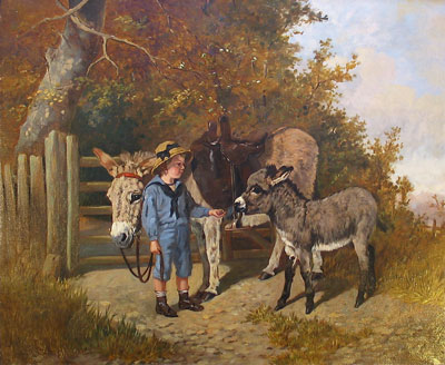 Arthur Batt original signed oil painting of a Donkey and Boy For Sale