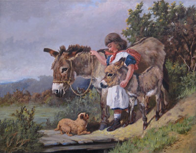 Arthur Batt original signed oil painting of a Donkey and Girl For Sale