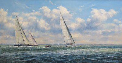 Barry Peckham artist painting of J Class Yachts in the Solent