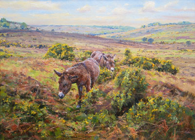 Barry Peckham artist painting of Donkeys in the New Forest