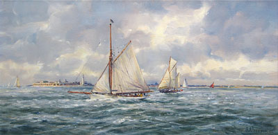 Barry Peckham artist painting of Yachts off Hurst Castle