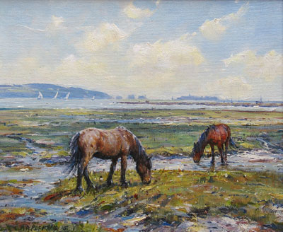 Barry Peckham artist painting of Tanners Shore Near Lymington