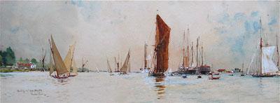 Charles Dixon (1872-1934) Original signed watercolour Hamble Southampton