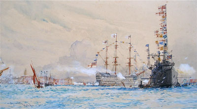 HMS Victory in Portsmouth Harbour by Charles Dixon