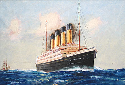 RMS Olympic sister ship of the Titanic by Charles Dixon