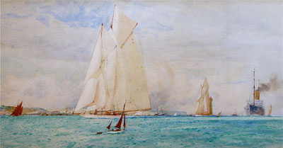 Yacht racing on the solent by the artist Charles Dixon RI