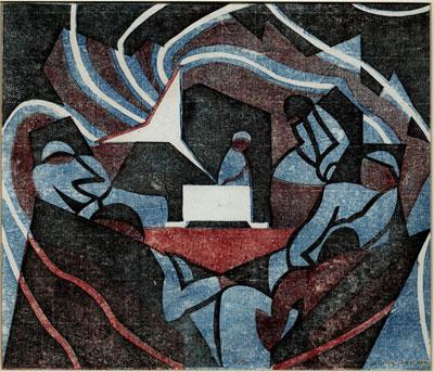 Claude Flight (1881-1955) Original Artist Signed Linocut Gramophone 1932