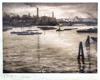 C.R.W. Nevinson, The Thames Original signed etching