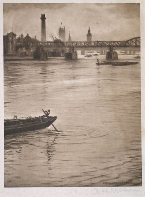 C.R.W. Nevinson, View of the Thames towards Westminster