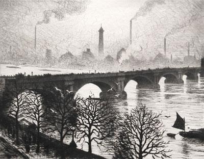 C.R.W. Nevinson, Waterloo Bridge from a Savoy Window