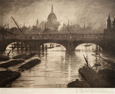 C.R.W. Nevinson, St Pauls Original signed etching