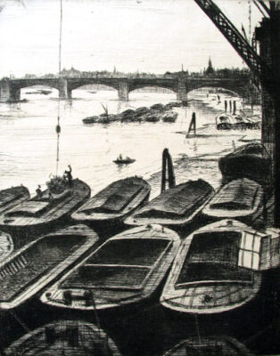 C.R.W. Nevinson, Thames with barges