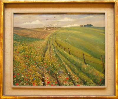 C.R.W. Nevinson, On the Downs Original signed oil