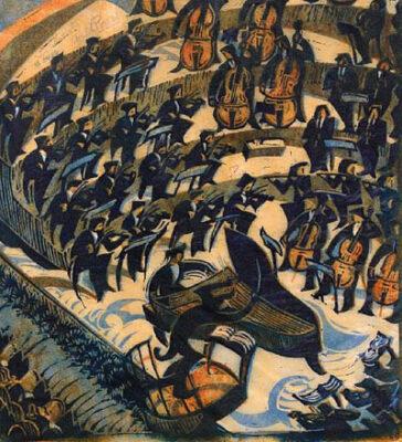 CYRIL POWER(1872-1951) Concerto original linocut
