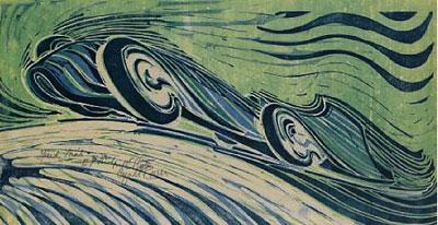CYRIL POWER(1872-1951) Speed Trial original linocut