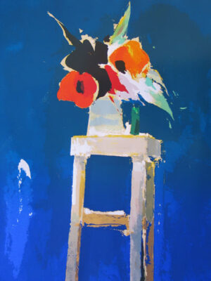 """Poppies on a stool - 1979"" by Donald Hamilton Fraser"