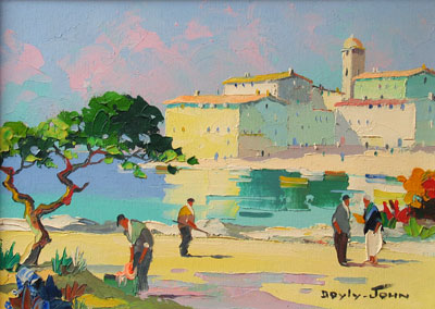 C.R.Doyly-John Harbour with figures oil painting