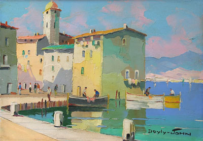 D'oyly-John Harbour with Boats oil painting