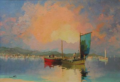Evening Sunset C.R.Doyly-John Original Signed Framed Oil Painting