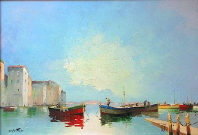 Calm Harbour C.R.Doyly-John Original Signed Framed Oil Painting