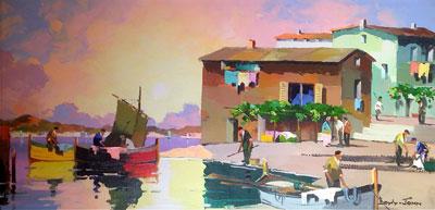 C.R.Doyly-John Original Signed Framed Oil Painting Sunset