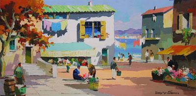 C.R.Doyly-John Town Scene oil painting