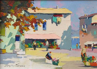C.R.Doyly-John Original Signed Framed Oil Painting of a Town Scene