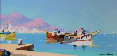 C.R.Doyly-John Harbour with Mountains oil painting