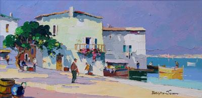 C.R.D'oyly-John Quayside signed oil painting