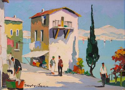 C.R.D'oyly-John vintage harbour buildings oil painting