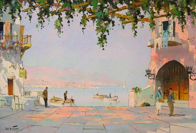 C.R.D'oyly-John period Mediterranean oil painting