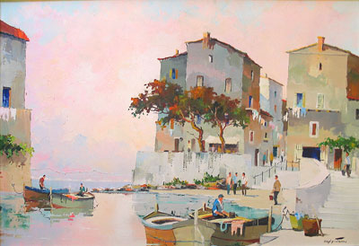 C.R.Doyly-John period Mediterranean oil painting