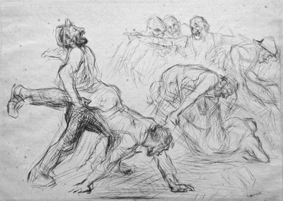 """Wheelbarrow race"" original etching by Edmund Blampied"