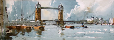 Tower of London original watercolour painting by Edward Wesson
