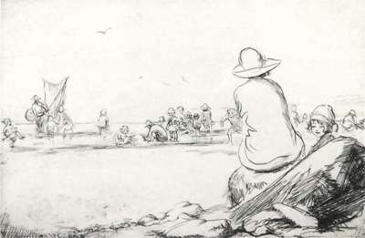 "original etching by Eileen Soper ""On The Sands"" 1921"