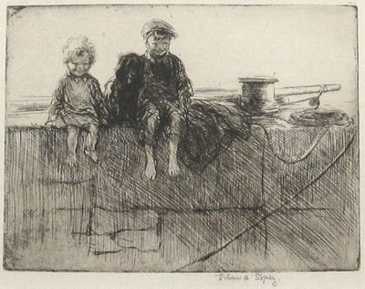 """Sea-Urchins"" 1928 original etching by Eileen Soper"