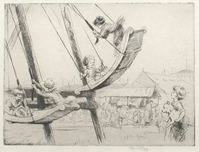 """The Fair"" c.1924 original etching by Eileen Soper"