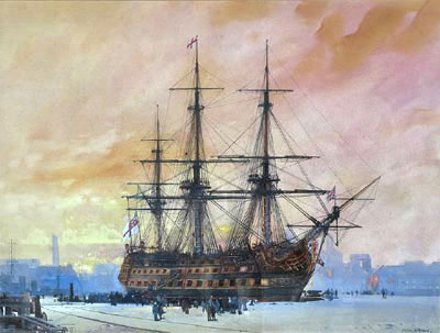 """""""HMS Victory in dry dock in Portsmouth Harbour c.1930"""" by Frank Mason artist"""